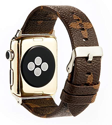 GOKE Brown Flower Printed Luxury PU Vegan Leather Watch Band Strap Compatible with 38mm 42mm Apple iWatch Series 3 2 1 (Silver Connector + Silver Buckle, 42mm)