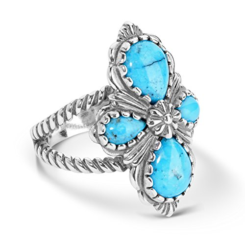 925 Silver & Spider Web Turquoise Four Stone Ring - Size 7