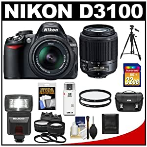 Nikon D3100 Digital SLR Camera with 18-55mm & 55-200mm DX AF-S Zoom Lens with 32GB Card + Case + Flash + Filters + Tripod + .45x Wide & 2.5x Telephoto Lens Kit