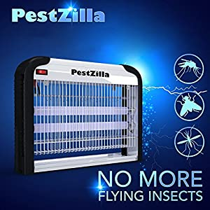 PestZilla Robust UV Electronic Bug Zapper Fly Zapper Killer Trap Pest Control– Protects Up to 6,000 Sq. Feet / For Indoor Use – Kills Flies, Mosquitoes, Insects, Etc – Enjoy an Insect Free Environment
