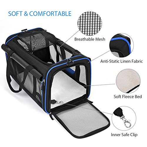 YOUTHINK Pet Wheels Carrier, Soft-Sided Travel Rolling Carrier Pet Stroller Small Size Pets up to 25 lbs Removable Wheels Extendable Handle Fleece Bed, 20'' x 13'' x 12'', Black by YOUTHINK (Image #3)