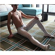CU@EY Men's leggings warm pants slim Plaid printed thin cotton long Johns