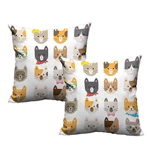 ZhiHdecor Toddler Pillowcase Animals,Cats Costume with Glasses and Bow Tie Bandana Cartoon Artwork Craft Pattern Print,Multicolor 20