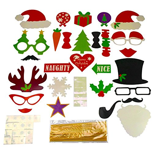 Fengirl 50Pcs Christmas Photo Booth Props, COOL DIY Party Favors & Supplies,Funny Party Colorful Props