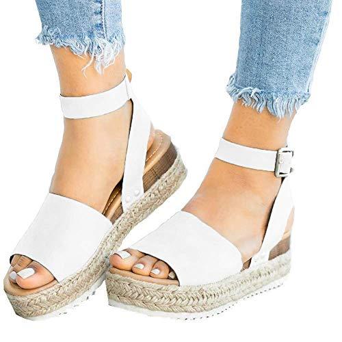 (Mafulus Womens Espadrilles Platform Sandals Wedge Ankle Strap Studded Open Toe Summer Sandals White)