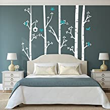 Wall Decal Decor Birch tree Wall Decals Wall Stickers Tree Decal Kids Baby Nursery Livingroom Bedroom Art - Birds in Birch Forest(5 feet, white + teal)