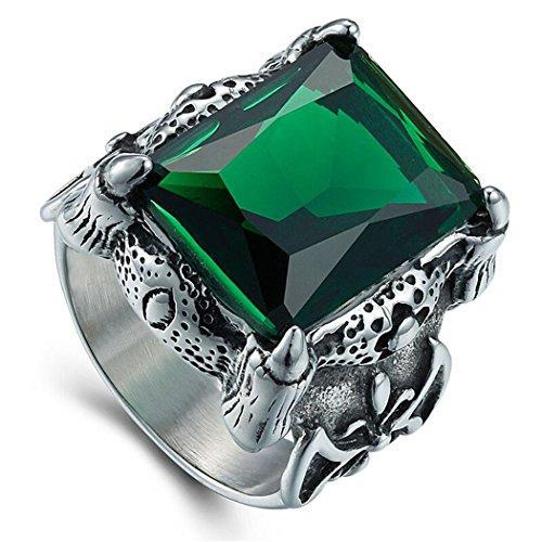 beb04c836 Sanmuhu hombres de acero inoxidable Vintage Retro mosaico verde piedras  anillo nuevo tamaño de la moda
