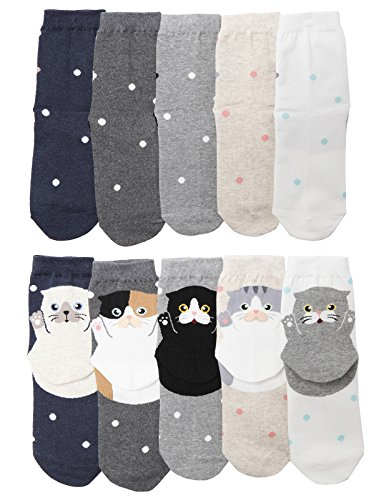 OSABASA Cute Cat Design Women's Casual Comfortable Cotton Crew Socks SET5 (KWMS032_KWMS0415)