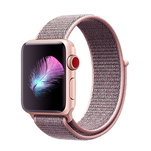 Price comparison product image For Apple Watch Band,Yunsea New Nylon Sport Loop with Hook and Loop Fastener Adjustable Closure Wrist Strap Replacment Band for iwatch,38mm,Pink Sand