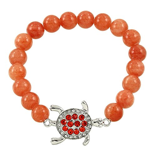 - Falari Turtle Crystal Lucky Charm Natural Gemstone Bracelet Peach Quartz B0280-PQ