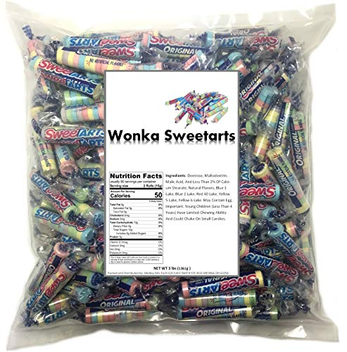 Wonka Sweetarts Twist Wrap 3 Lb Bag Original Assorted Flavors, bulk candy individually wrapped