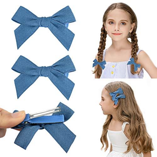 DEEKA 2 Pack Hair Clip Hair Bows Fringe Clip for Little Girls - Solid Blue ()