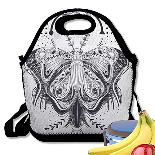 Insulated Neoprene Lunch Bag Illustration of A Sketch Tattoo Art Butterfly in Abstract Style Mystical Astrological Symbol Nice Gift Reusable Soft Lunch Tote for Work and School -