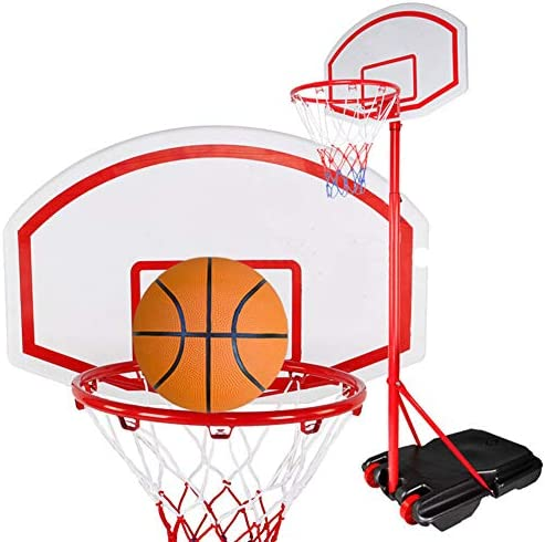 ポータブルバスケットボールセット、ホイール165〜210センチメートル高さ調節が可能なバスケットボールのポール、大人と子供のフィットネススポーツボールゲームと屋外の立ちバスケットボールフープスタンド