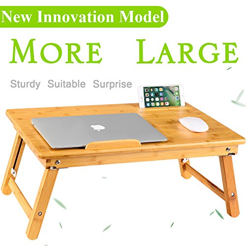 NNEWVANTE Large Size Laptop Desk Bamboo Bed Tray Adjustable Foldable Lap Desk Bed Serving w' Tilting Drawer Supports Laptops Up To 18 Inches