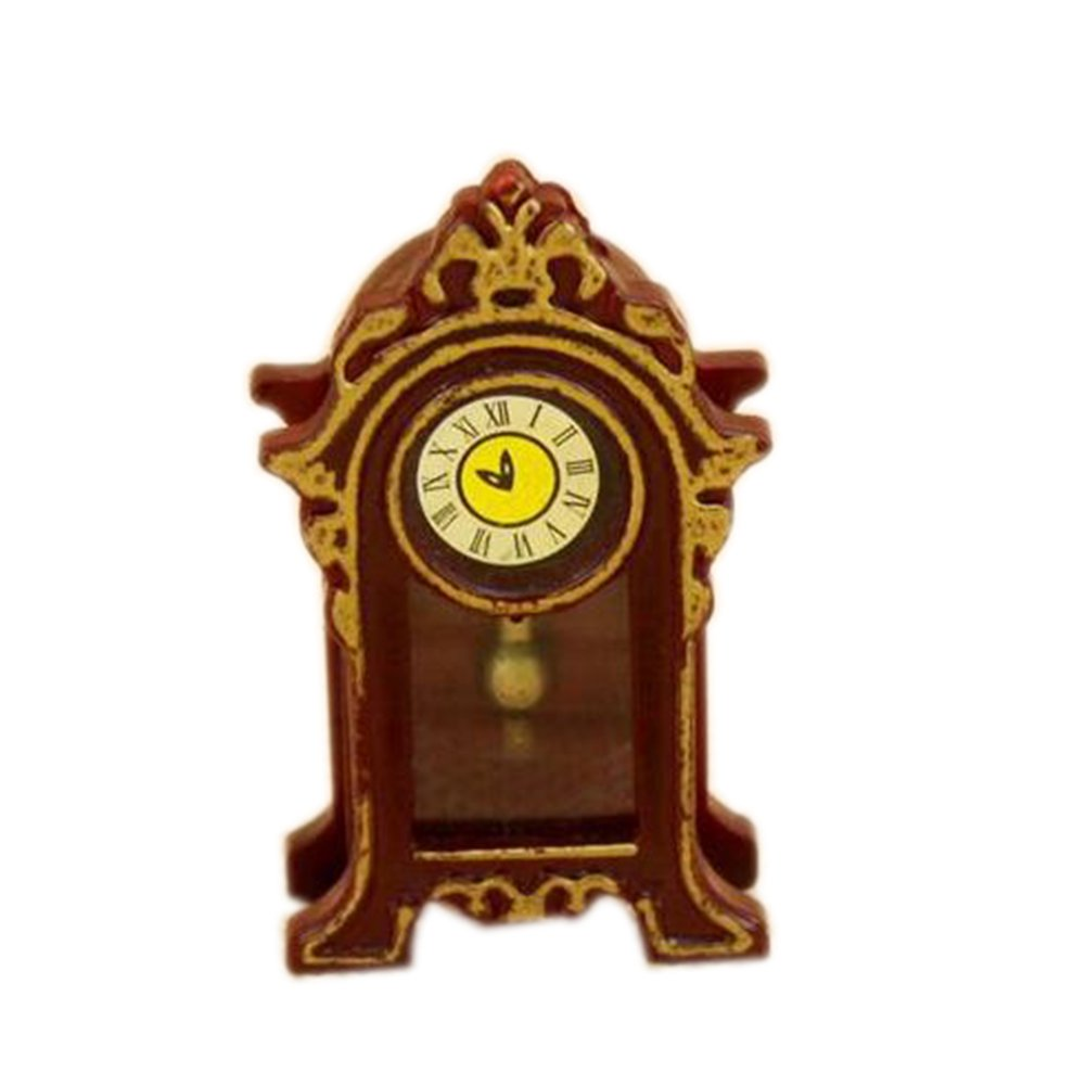 Dimart Lovely Family Vintage Classic Desk Clock - 1; 12 Dollhouse Miniature Accessories - Brown