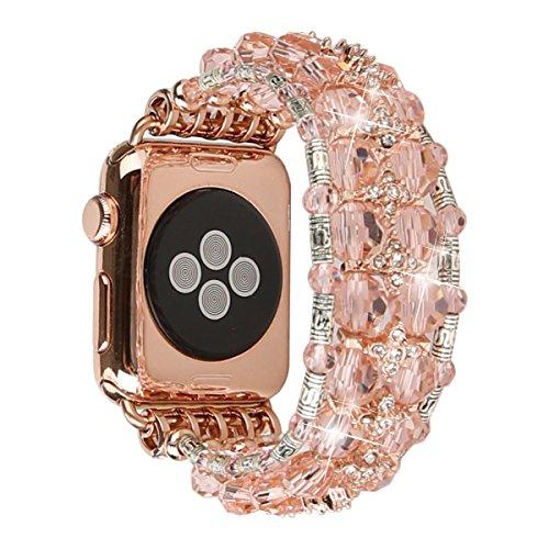 GEMEK Bling Women Bracelet Compatible with Apple Watch Band 42mm 44mm iWatch Series 4 3 2 1, Mantis Shrimp Diamond Rhinestone Elastic Stretch Strap Replacement Girls Wristband (Pink - 42mm) ()