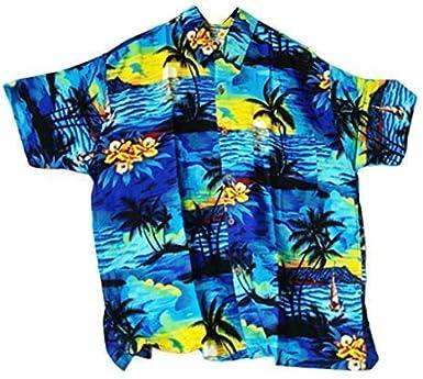 DOUBLE DUCK Chillón Camisa Hawaiana, Azul Con Palmeras/BARCOS, L, 52