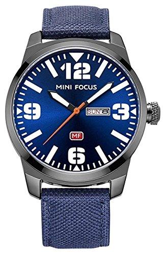 Fashion Camouflage Dial Men's Quartz Analog Watch Military Casual Nylon Strap Waterproof Watch (Blue Camo Fashion Watch)