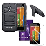 Fosmon® Premium (Combo) Motorola Moto G (1st Gen 2013) / Moto DVX (STURDY Series) Heavy Duty Dual Layer Hybrid Holster Case with Kickstand and Belt Clip + Crystal Clear HD Screen Protector Shield (3 Packs) - Fosmon Retail Package