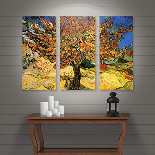 ArtWall 3-Piece Vincent Van Gogh Gallery Wrapped Canvas, 36 by 54-Inch, Mulberry Tree