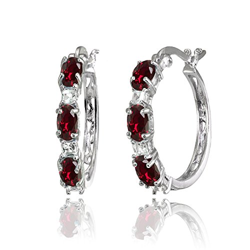 Sterling Silver Oval Created Ruby & Princess-cut White Topaz Filigree Hoop Earrings