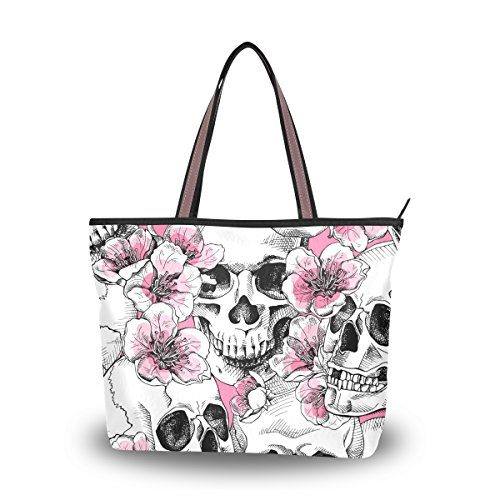 Tote Top Handle Bag Skull Flowers Pink Cherry Handbag Women - 15.7 x 11.4 x 3.5in