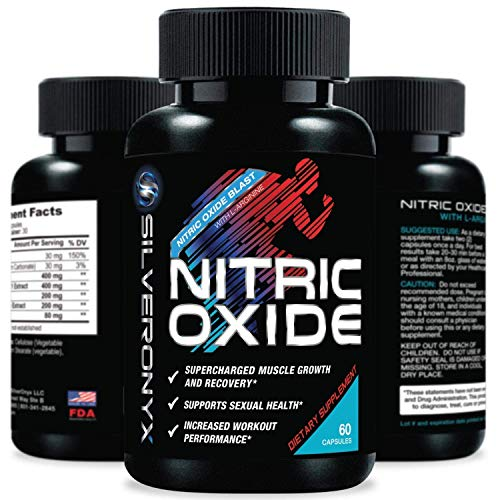 Extra Strength Nitric Oxide Supplement L Arginine 1300mg - Citrulline Malate, AAKG, Beta Alanine - Premium Muscle Building No Booster for Strength, Vascularity & Energy to Train Harder - 60 Capsules