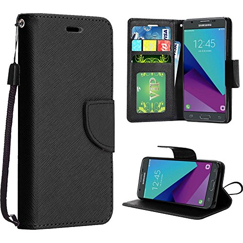 Price comparison product image Samsung J3 Emerge Case, Samsung Galaxy J3 Prime ( MetroPCS ) Case, Luckiefind Designer PU Leather Flip Wallet Credit Card Cover Case, Stylus Pen, Screen Protector Accessory (Wallet Black)