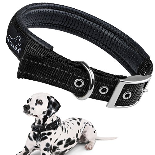 PETBABAB Padded Dog Collar with Metal Buckle, Soft to Protect Neck, Reflective at Safe Night Walk, Durable to Last Long in Walking Training Pet in Black