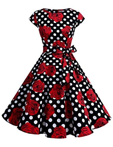 Dressystar DS1956 Women Vintage 1950s Retro Rockabilly Prom Dresses Cap-Sleeve S Black White Rose