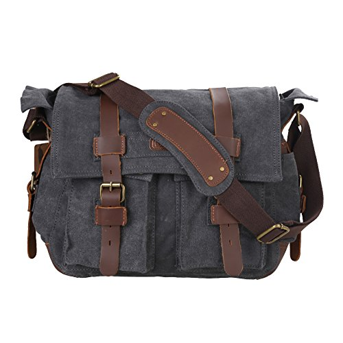 Kattee Leather Canvas Camera Bag Vintage DSLR SLR Messenger Shoulder Bag Dark...