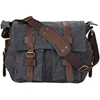 Kattee Leather Canvas Camera Bag Vintage DSLR SLR...