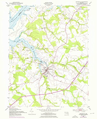 Centreville MD topo map, 1:24000 scale, 7.5 X 7.5 Minute, Historical, 1954, updated 1976, 26.8 x 21.9 IN - - Md Queens Town