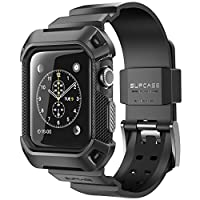 Estuche protector de Apple, SUPCASE [Unicorn Beetle Pro] Estuche protector resistente con bandas de correa para Apple Watch /Watch Sport /Watch Edition 2015 [38 mm, no compatible con 42 mm] (Negro)