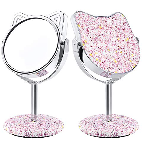 DERUI CREATION Kitty Makeup Vanity Mirror,Desktop Tabletop Mirror,Colourful Glittery Compact Mirror,Gift For Young Girl and Women(Pink)