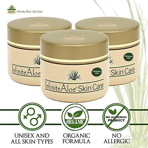 Infinite Aloe Skin Care Cream, Fragrance Free, 8oz. - 2 Jars - ** (Plus 2 Bonus 0.5 oz InfiniteAloe Travel Jars) ** by InfiniteAloe (Image #1)