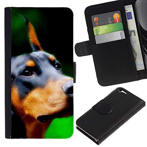 EuroCase - Apple Iphone 6 4.7 - Doberman Pinscher canine dog breed - Cuir PU Coverture Shell Armure Coque Coq Cas Etui Housse Case Cover