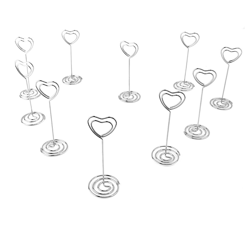 Looching 20pcs 3.5 Inch Heart-shaped Holder Wire Photo Clips Place Card Holder Special Spiral Base For Tabletop Use