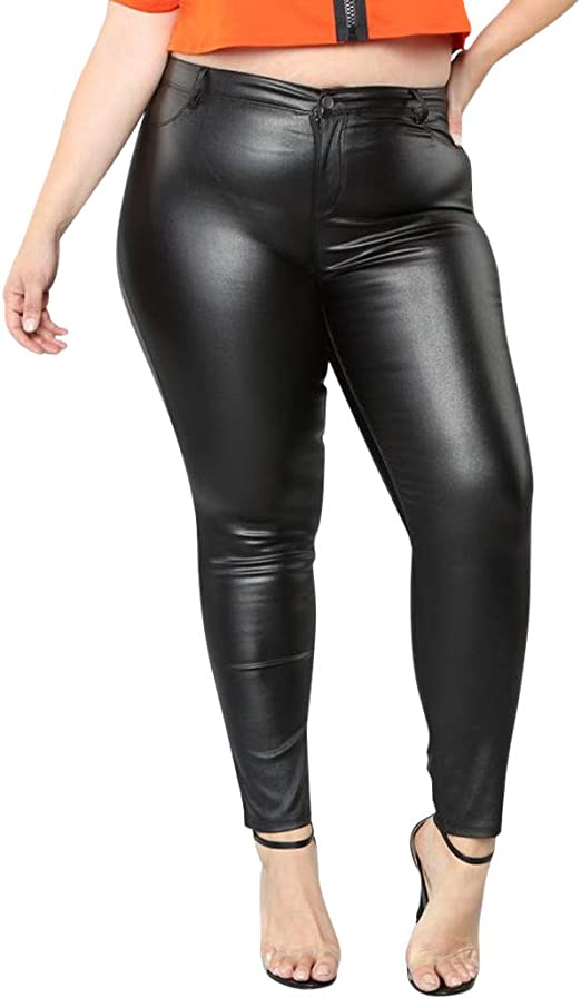 Womens Faux Leather Black Wet Look Leggings Side Detail Sporty Look Fitted Body
