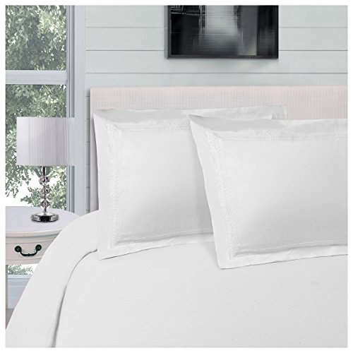 Superior Infinity Embroidered Luxury Soft, Cooling 100% Brushed Microfiber Duvet Cover Set with 2 Pillow Shams, Light Weight and Wrinkle Resistant - King/California King Duvet Cover, White