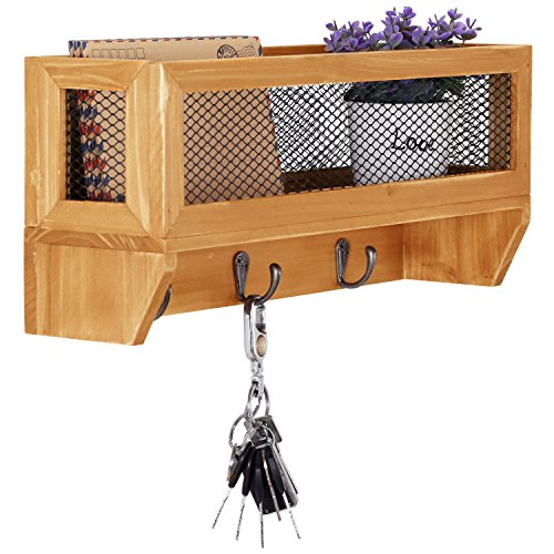 MyGift 3-Hook Rustic Wooden Wall Mounted Entryway Organizer Rack with Metal Mesh Storage Basket (Dog Leash Wallet)