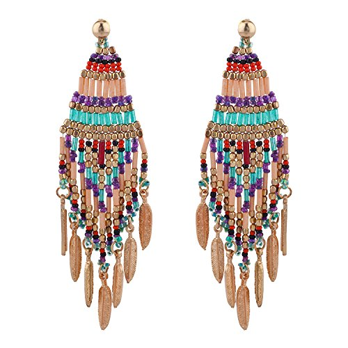 Lux Accessories Multi Color Boho Festival Seed Bead Dangle Statement Earrings