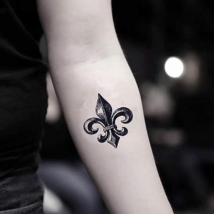 Flor De Lis Etiqueta Engomada Falso Temporal Del Tatuaje Juego De 2