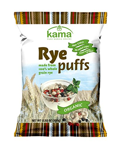 ORGANIC Whole Grain Rye Puffs Breakfast Cereal | No Added Sugars No Preservatives Non GMO |Good Source of Fiber | All Natural Healthy Nordic Breakfast Cereal | 3.53OZ 100 (Full Belly Bowl)
