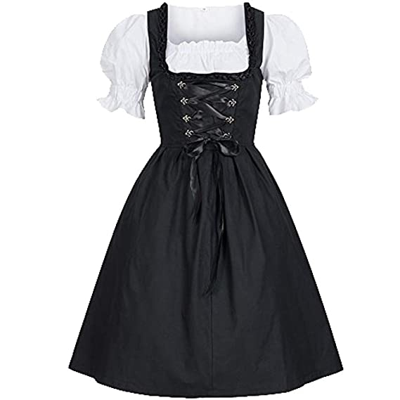 Damen Mini Dirndl Trachtenkleid Kleid Schürze Oktoberfest Wiesn Volksfest Beige