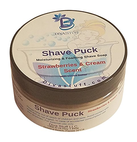 Shave Puck, Nourishing , Moisturizing and Foaming Shave Bar for Women, Strawberries and Cream Scent