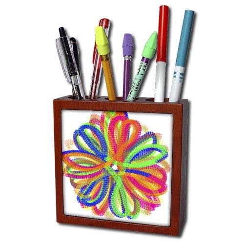 ph_172162_1 Cassie Peters Flowers - Fun Funky Flower Digital Doodle by Angelandspot - Tile Pen Holders-5 inch tile pen holder