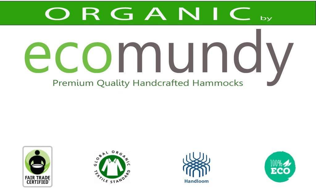 Certificato GOTS Bianco Naturale Boho ecomundy Ibiza Cotone Organico Sedia per Amaca Premium con Frange allUncinetto Fatto a Mano Max 150 kg
