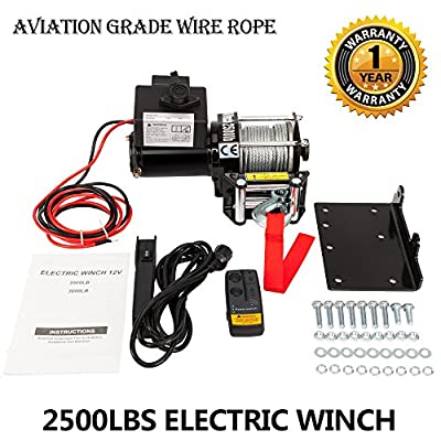 2500lbs DC 12V Electric Recovery Winch SUV Truck Car with Wireless Remote Control Kit